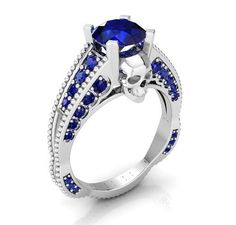 Sapphire Skull Engagement Ring in 950 Platinum