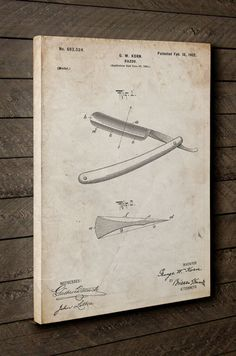 Hey, I found this really awesome Etsy listing at https://www.etsy.com/listing/248300063/straight-razor-patent-canvas-art-vintage