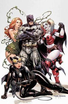 Batman avec Catwoman , Poison Ivy et Harley Quinn