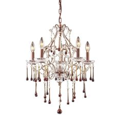 Opulence 5 Light Chandelier In Rust And Amber Crystal