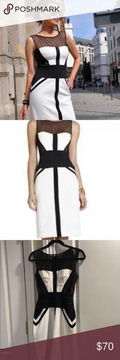 80d695063306e Shop Women's BCBGMaxAzria White Black size 0 Midi at a discounted price at  Poshmark. Description: BCBGMaxAzria Black and White Midi Sleeveless Dress.