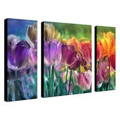 Canvas Art Botânico Tulip Farm por Mindy Sommers Conjunto de 4 - BRL R$ 197,86