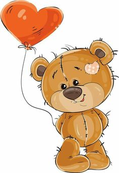 Bear with a balloon of love PNG and Vector Tatty Teddy, Bear Pictures, Cute Pictures, Lapin Art, Balloon Clipart, Cute Teddy Bears, Cute Images, Digi Stamps, Cute Illustration