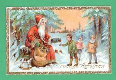 VINTAGE DUTCH CHRISTMAS SANTA CLAUS GEL POSTCARD SACK TOYS CHILDREN SNOW #Christmas