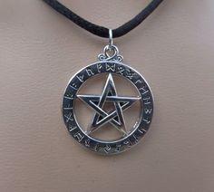 Silver Elder Futhark Rune Pentacle Pendant - Runes Pendant - Pentagram - Adjustable Black Choker Necklace - Pagan - Wiccan by PhoebesBazaar on Etsy https://www.etsy.com/uk/listing/239948555/silver-elder-futhark-rune-pentacle