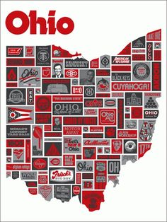 Ohio is a state in the Midwestern United States. Ohio is the largest (by area), the most populous, and the most densely populated of the 50 United States. The state's capital and largest city is Columbus. Buckeyes Football, Ohio State Football, Ohio State University, Ohio State Buckeyes, College Football, Draplin Design, The Buckeye State, Buckeye Nut, Layout