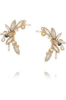 VICKISARGE Gold-plated Swarovski crystal ear cuffs   NET-A-PORTER