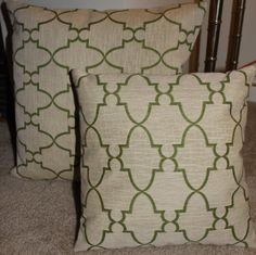 Decorative Pillow Case  18x18 Cream and Green by MotifPillows, $15.00