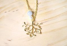 Collar árbol bañado en oro. Plata chapada por SistersActBoulevard
