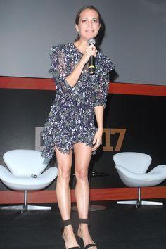 Alicia Vikander wearing Isabel Marant Muster Top and Isabel Marant Myron Dress
