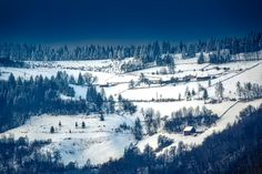 Quiet countryside in snow covered winter