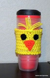 Swirls and Sprinkles: Free crochet Easter chick coffee Kozie pattern