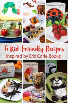 Here are 6 kid-friendly food ideas to pair with your favorite Eric Carle books like The Very Hungry Caterpillar, Brown Bear, Brown Bean and more. Caterpillar Recipe, Super Healthy Recipes, Healthy Kids, Ladybug Snacks, The Very Busy Spider, Easy Vegetables To Grow, Cool Lunch Boxes, Eric Carle