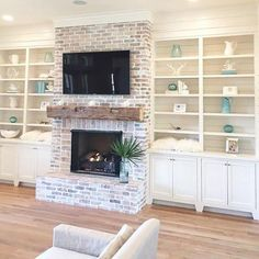 54 Rustic Farmhouse Fireplace Ideas For Your Living Room. Effective decoration of your living room depends on its size and shape. While decorating your living room, always keep in mind that there shou. White Wash Brick Fireplace, Brick Fireplace Makeover, Farmhouse Fireplace, Home Fireplace, Living Room With Fireplace, Fireplace Design, My Living Room, Fireplace Ideas, Living Spaces
