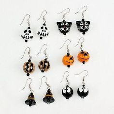 Halloween Glass Bead Earrings, Witch Hat, Ghost, JackOLantern Adorable