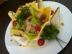 Codfish Salad inside Parmesan Basket