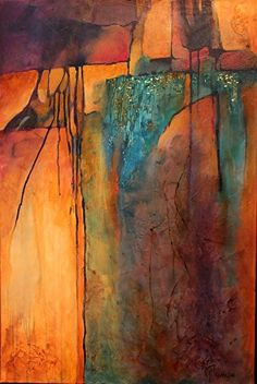 Turquoise Mine, 13004 by Southwest Abstract Art mixed media ~ 36 x 24