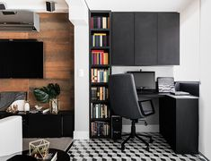 Black desk: 60 templates to personalize the home office - ChecoPie Home Room Design, Home Office Design, House Design, Modern Drawers, Desk With Drawers, Room Interior, Interior Design, Diy Design, Home Office Storage