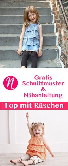 Einfaches Sonnentop mit Rüschen für Mädchen - für 18 Monate bis 12 Jahre - Freebook ❤ DIY - selber nähen ✂ Nähtalente.de - Magazin für kostenlose Schnittmuster ✂ Free sewing pattern for a nice top with ruffles. For girls from 18 month - 12 years.