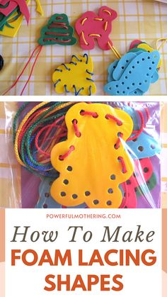 This arts and crafts activity can help your toddler's fine motor abilities! Help your child learn by doing a fun DIY craft! Check out the blog for more details on How to make Foam Lacing Shapes! Hone your preschooler's skills and creativity with this DIY project that can serve as a home decoration piece as well! Bring on your arts and crafts skills with this unique craft for kids and toddlers! It can serve as a family bonding activity as well! Your little one will thank you for it, I guarantee! Craft Activities For Kids, Toddler Activities, Projects For Kids, Crafts For Kids, Arts And Crafts, Diy Projects, How To Make Foam, Educational Crafts, Decoration Piece