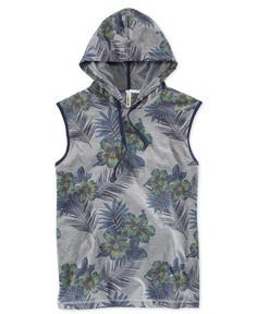 Add some adventurous modern style to your casual wardrobe with this Deeper T-shirt from Univibe. This tee features a sleeveless design, a hood with drawstring closure and an attractive, allover floral
