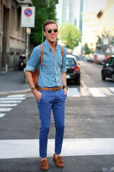 filippocirulli: jeans shirt and chinos. I was wearing: Vintage jeans shirt Topman chinos Hermes belt Belfiore tassel loafers Vintage backpack Vintage shades