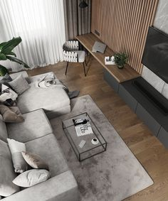 Perfect combination of aesthetics and functionality. Amazingly fused elegant furniture and modern 💡 lighting and surfaces. Loft Interior Design, Home Room Design, Contemporary Interior Design, Condo Design, Scandinavian Interior Design, Scandinavian Living, Modern Design, House Design, Home Living Room