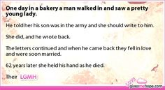 One day in a bakery a man walked in and saw a pretty young lady.