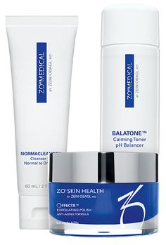 ZO® Skin Care for Dry Skin including Normacleanse™, Balatone™ and Offects™ Exfoliating Polish. HOW TO USE:  STEP 1: NORMACLEANSE- CLEANSE YOUR FACE TWICE A DAY TO REMOVE IMPURITIES. STEP 2: OFFECTS EXFOLIATING POLISH- SCRUB SKIN 2-3 TIMES A WEEK TO REMOVE BUILDUP. STEP 3: BALATONE- TONE TWICE A DAY TO CLEAR, SOOTHE AND HYDRATE.