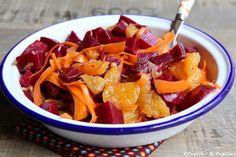 Pour 2 ou 4 personnes selon la faim :1 betterave cuite, 2 oranges, 1 petite carotte. Et pour l'assaisonnement, sel, poivre, 1 orange (il faudra recueillir 3 c à s de jus), 3 c à s d'huile d'olive, 1 gousse d'ail, 1 c à c de moutarde de Dijon