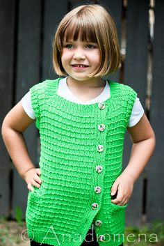 This is a perfect summer vest for boys or girls; ideal to wear on a windy or a stormy day for that cozy feeling!