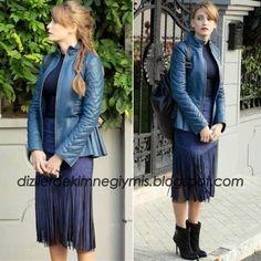 Medcezir - Mira (Serenay Sarıkaya), Navy Leather Jacket and Fringe Skirt Turkish Fashion, Turkish Beauty, Fashion Wear, Fashion Outfits, Womens Fashion, Navy Leather Jacket, Fringe Skirt, Pakistani Actress, Spring Outfits