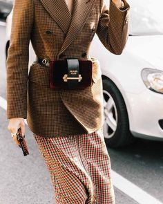 Brown checkered longline double breasted blazer, red and green checkered midi skirt and burgundy Prada fanny pack / Paris Fashion Week 2017 Street Style Inspiration Look Fashion, New Fashion, Trendy Fashion, Winter Fashion, High Fashion, Fashion Outfits, Womens Fashion, Fashion Trends, Street Fashion