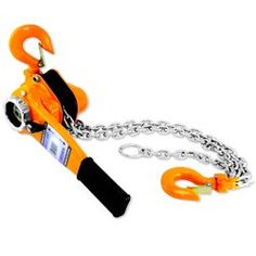 """3 Ton Lever Block Chain Hoist Come Along by Pro-Forge. $199.99. Positive load control with mechanical brake. Double pawl for maximum load control. Hardened forged steel hooks with heavy duty latches. liLift heavy equipment up to 60"""" (1.5 meter) liDistance between H hooks: 19"""" liLift full load: 72 lbs liChain fall line: single liChain diameter: 10mm liChain Length: 60"""" liLength of lever D handle: 16"""" liMSRP: $259.95 SKU: 9338L. Save 47% Off!"""