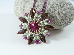 Fuchsia & Green Flower Pendant, Holiday Jewelry, Passion Flower, Summer Style, Pink, Prom Necklace, Swarovski Crystal, Pretty Bead Necklace by BeauBellaJewellery on Etsy