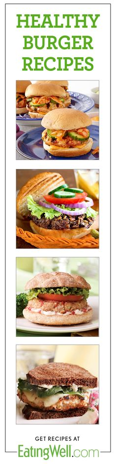 Healthy Burger Recipes including Korean Turkey Burgers with Kimchi, Quinoa Veggie Burgers, Quick Tuna Burgers, Chicken Cordon Bleu Burgers and more!