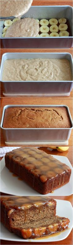 Upside down banana bread! Ingredients: ½ cup packed brown sugar 3 tablespoons unsalted butter, cut into several pieces About 2 bananas, sliced in ¼ inch rounds ½ cup chopped walnuts or peca Banana Bread Recipes, Cake Recipes, Dessert Recipes, Banana Bread Cake, Picnic Recipes, Just Desserts, Delicious Desserts, Yummy Food, Baking Desserts