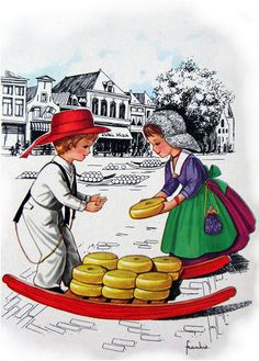 Dutch Boy & Girl at Cheese Market