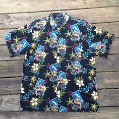ed8c8ad1 Motorcycle Babe Hawaiian Shirt- Men's XL- Vintage- Tiki- Pin Up Girl- Sexy-  Harley- Bike- Motorbike- Vacation- Cruise- Rockabilly- Punk- BBQ