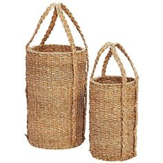 H?bsch?Woven Tall Baskets Set Of 2 (82 CAD) ❤ liked on Polyvore featuring home, home decor, small item storage, baskets, brown, weave basket, weave storage baskets, brown basket, storage baskets and woven storage baskets