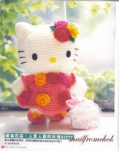 Hello Kitty Amigurumi - Patrón Gratis en Español aquí: http://amigurumisenunclick.blogspot.com.es/2011/02/patron-en-castellano-de-hello-kitty.html