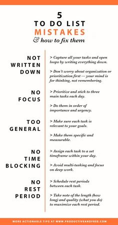 Infographic To do list mistakes and how to fix them Productivity Time management Time Management Strategies, Good Time Management, Effective Time Management, Time Management Quotes, Productivity Hacks, Productivity Challenge, Evernote, Self Improvement Tips, Study Tips