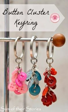 DIY Projects and Crafts Made With Buttons - Button Cluster Key Ring - Easy and Quick Projects You Can Make With Buttons - Cool and Creative Crafts, Sewing Ideas and Homemade Gifts for Women, Teens, Kids and Friends - Home Decor, Fashion and Cheap, Inexpensive Fun Things to Make on A Budget http://diyjoy.com/diy-projects-buttons #CoolKeyChains