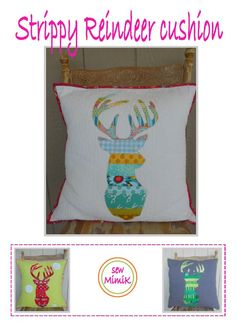 Strippy Reindeer Cushion - by sew MimiK - Cushion Pattern