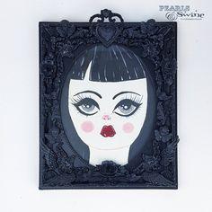 """Aurora"" Gothic Doll Framed Art Gothic Dolls, Aurora, Framed Art, Original Paintings, Sculpture Art, Sculptures, Artwork, The Originals, Jewelry Art"