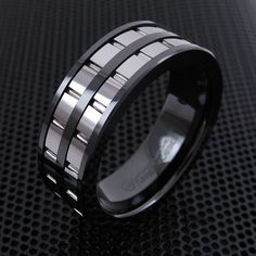 TWIN SILVER GROOVED BANDS ON ION PLATED BLACK TUNGSTEN RING