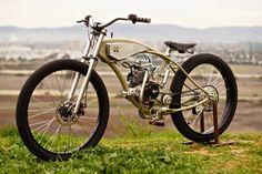 Amazing Cool Bicycles - Motorised Bicycle by Wolf Creative Customs Vintage Bikes, Vintage Motorcycles, Custom Motorcycles, Custom Bikes, Mini Bike, Mini Moto, Velo Design, Bicycle Design, Powered Bicycle