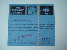 Playboy London. Entrance ticket May 1967. 10/- Gaming session ticket.