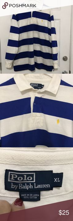 Polo by Ralph Lauren Blue White Stripe Polo by Ralph Lauren Heavy weight polo shirt. Worn a few times. Polo by Ralph Lauren Shirts Polos
