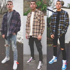 Swag Outfits Men, Flannel Outfits, Winter Outfits Men, Stylish Mens Outfits, Mode Outfits, Casual Outfits, Men Casual, Mens Fashion Outfits, Blue Flannel Outfit